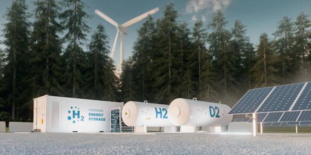 Konzept der Wasserstoff-Energiespeicherung aus erneuerbaren Quellen - Windkraftanlagen und Photovoltaik. 3D-Rendering – Foto