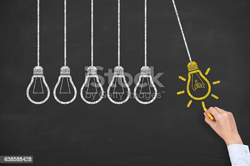 491490296istockphoto Concept of idea and innovation with light bulb on blackboard 638588428