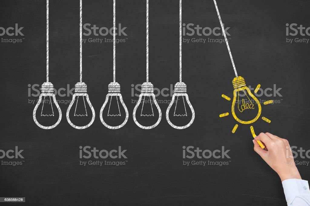 Concept of idea and innovation with light bulb on blackboard vector art illustration