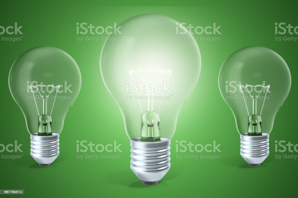 Concept of ideas, innovation, a glowing light bulb in the center. 3d rendering stock photo