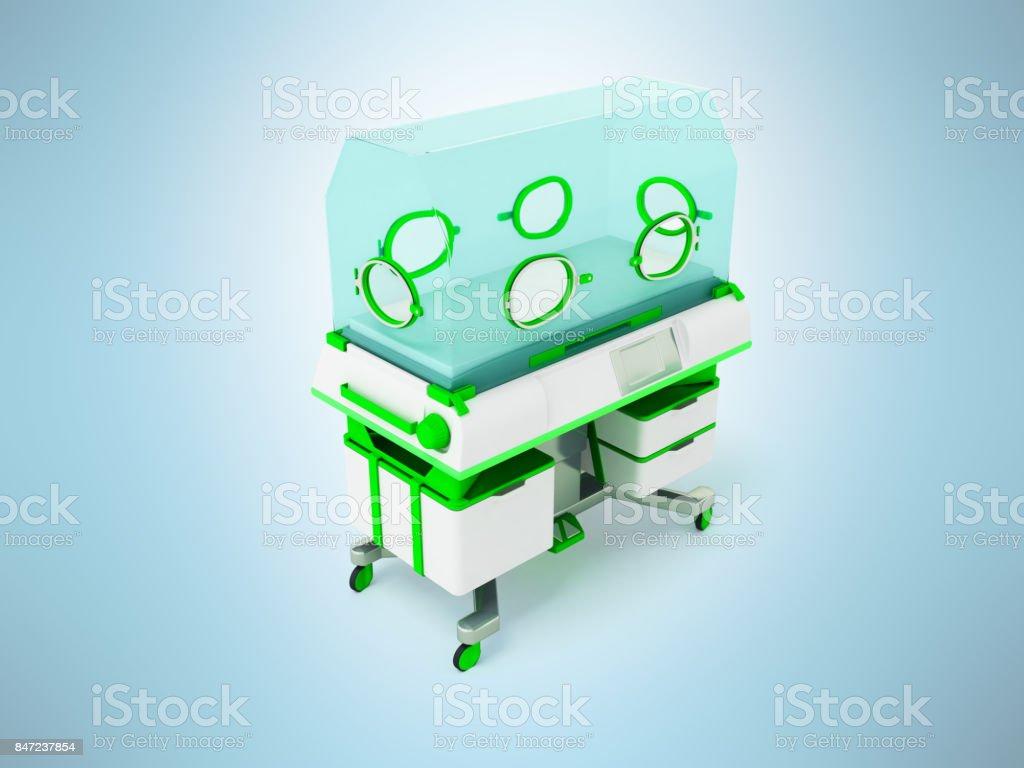 Concept of incubator for children white green 3d rendering on white background stock photo