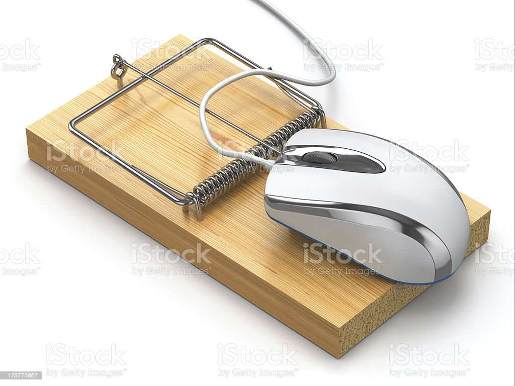 Concept of internet security. Computer mouse and mousetrap. royalty-free stock photo
