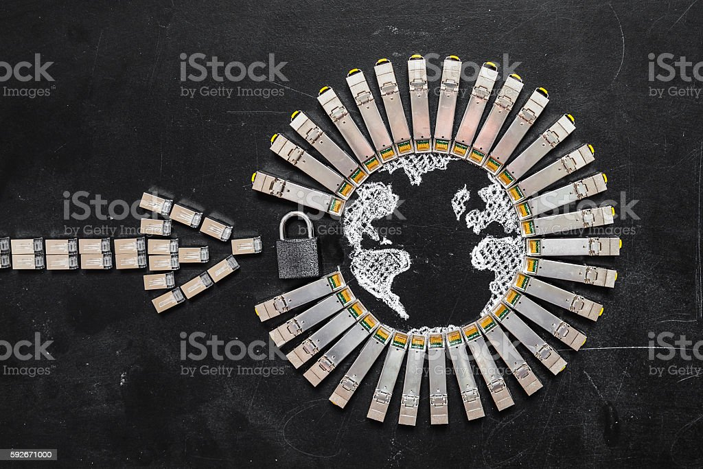 Concept of internet security/computer data encryption / data protection stock photo