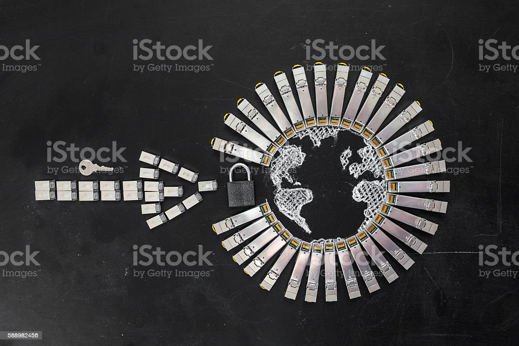 Concept of internet security/computer data encryption stock photo