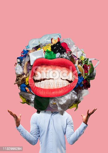 Concept of knowledge. Unnecessary information. Contemporary modern art collage. rubbish in the head concepts