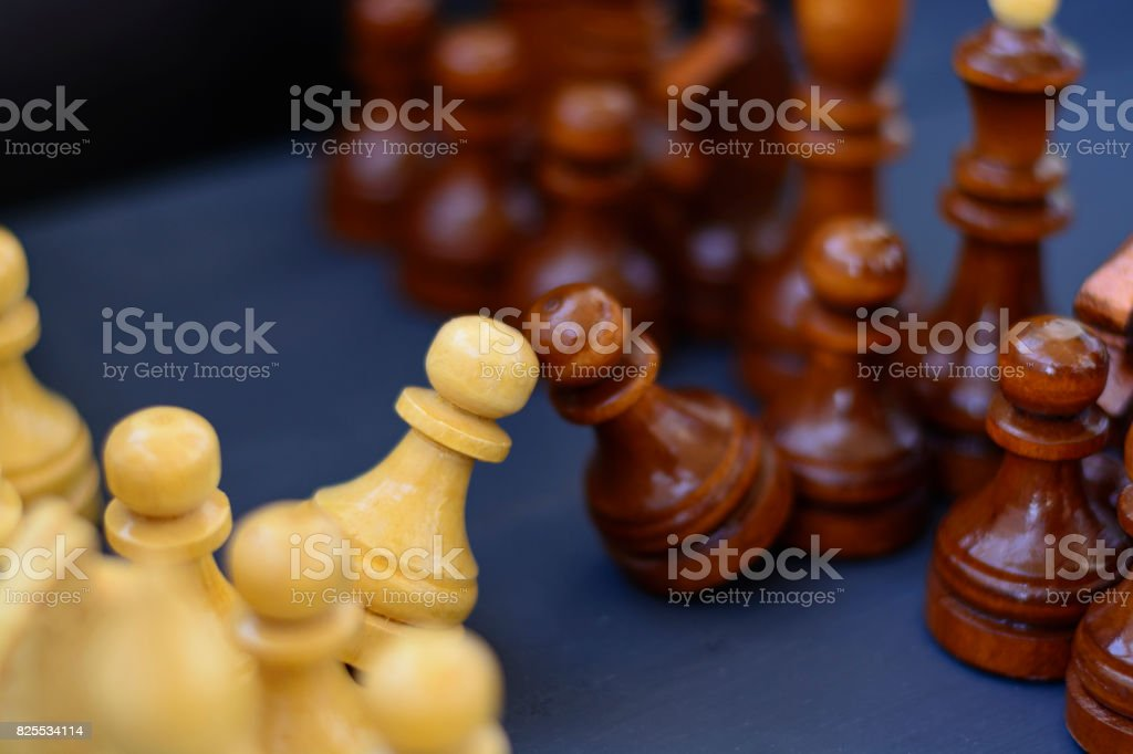 Concept of leadership, success, motivation. Chess pieces on the Board. stock photo