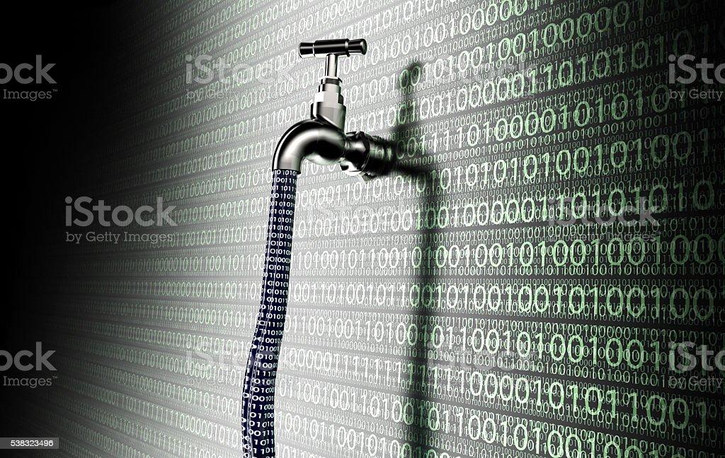 Konzept von tropfender Software, Daten mit einem Fass herausstrecken – Foto