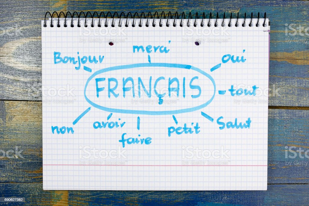 concept of learning french (francais) language stock photo
