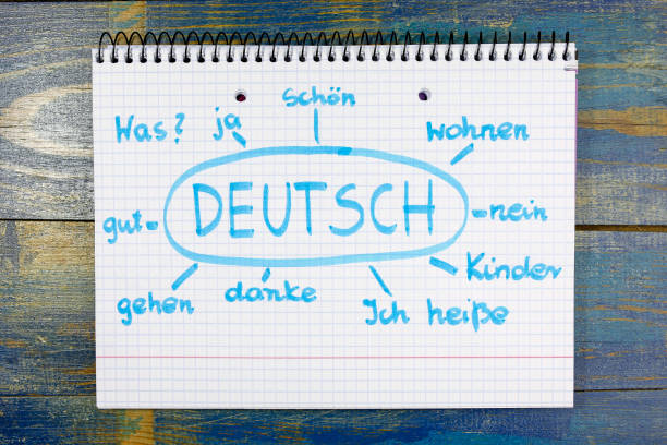 concept of learning german (deutsch) language - deutsch üben stock-fotos und bilder