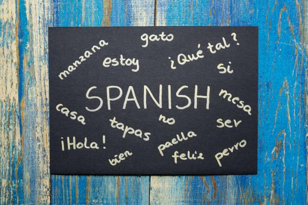 concept of learning spanish language - spanisch translator stock-fotos und bilder