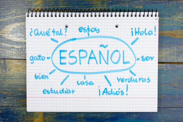 concept of learning spanish (espanol) language stock photo