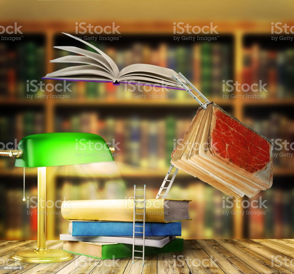 Concept of learning. Stairs connect books on a library background. Path to the knowledge. royalty-free stock photo