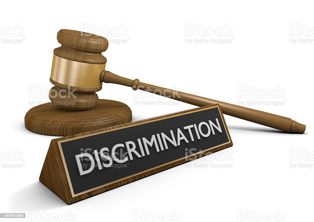 Concept of legal protection from age, sex, and race discrimination stock photo