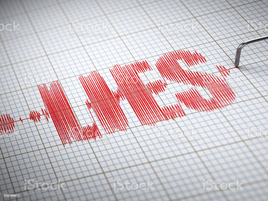 Concept of lies. Lie detector with text. stock photo