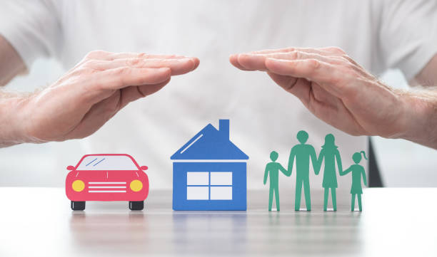 Concept of life, home and auto insurance stock photo