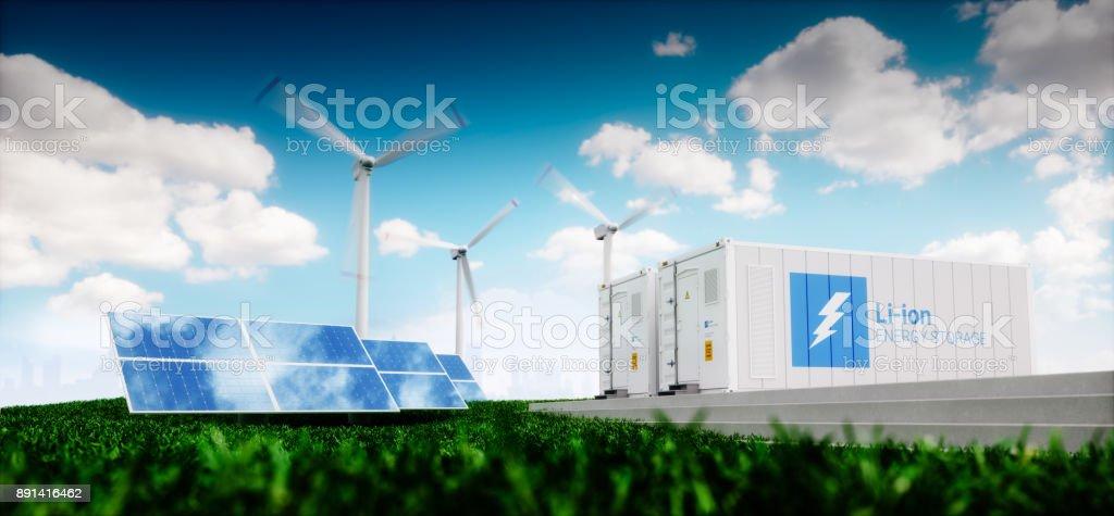 Konzept der Lithium-Ionen-Energiespeicher. Erneuerbare Energien - Photovoltaik, Windkraftanlagen und Lithium-Ionen-Batterie-Container in der frischen Natur mit entfernten verschwommene Stadt im Hintergrund. 3D-Rendering. – Foto