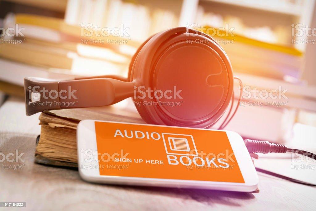 Concept of listening to audiobooks stock photo