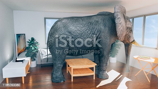 Concept of not having enough space in a house or apartment. Maybe it is time to move to another place. Elephant trapped inside the living room and looking out of the windows. Probably daydreaming about another place to live with more space. Note: The image on the tv is also my work. File #1152458876