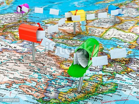 istock Concept of mailing on the world map 499632010
