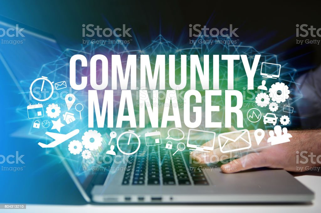 Concept of man futuristic interface community manager title and multimedia icons flying all around - Internet concept stock photo