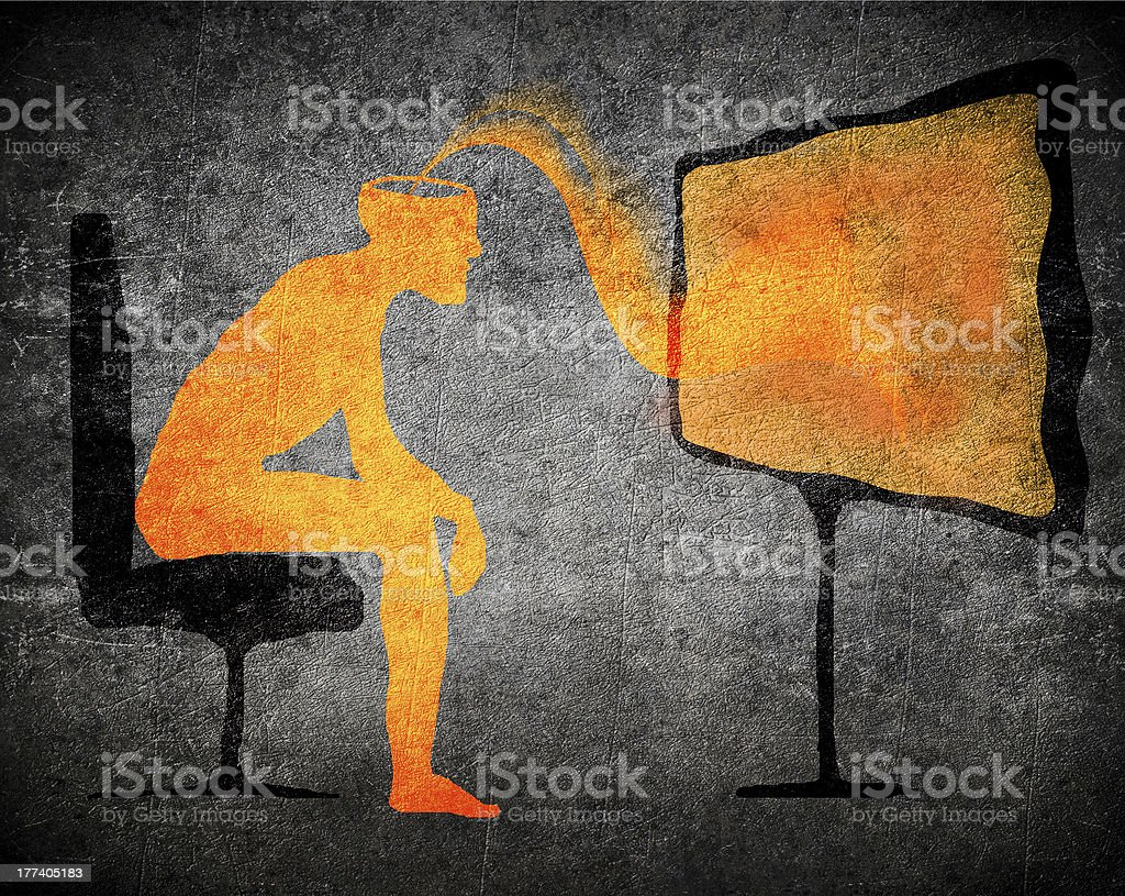 Concept of man getting subliminal message from TV stock photo