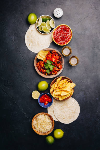 concept of mexican food, flat lay - mexican food stock photos and pictures