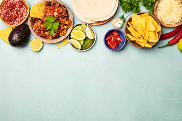 Concept of Mexican food, flat lay stock photo