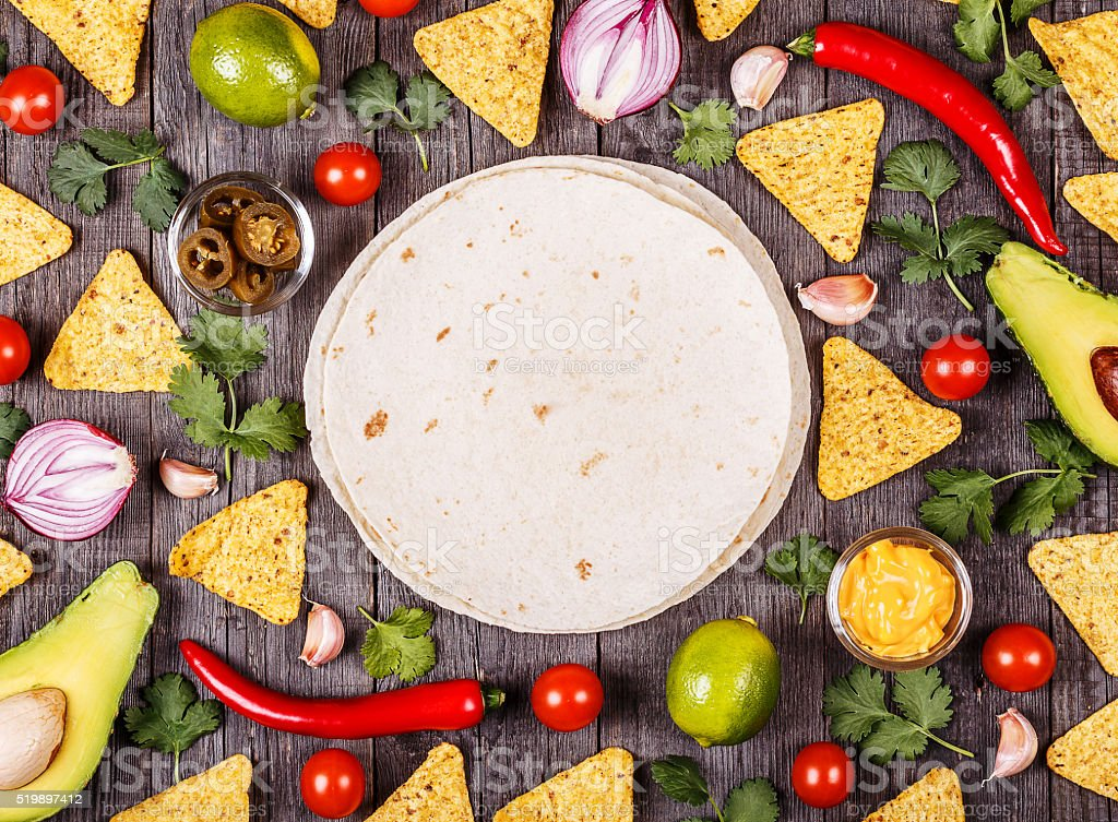 Concept of Mexican food, food background. stock photo