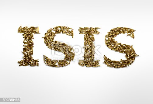 istock Concept of military aggression of ISIS. ISIS typed with bullets 520289456