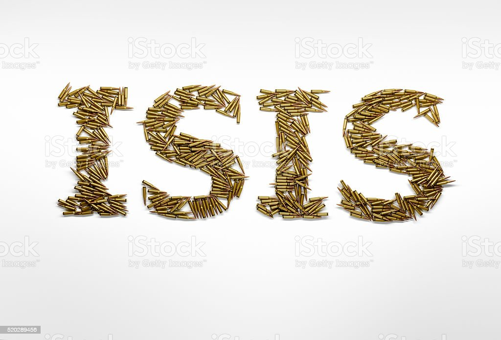 Concept of military aggression of ISIS. ISIS typed with bullets stock photo