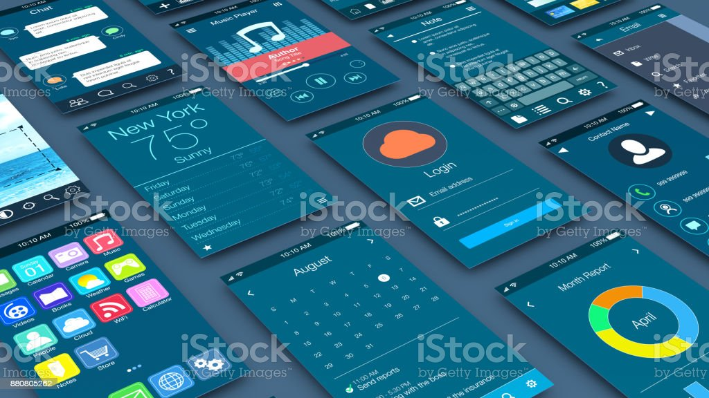 concept of mobile apps stock photo