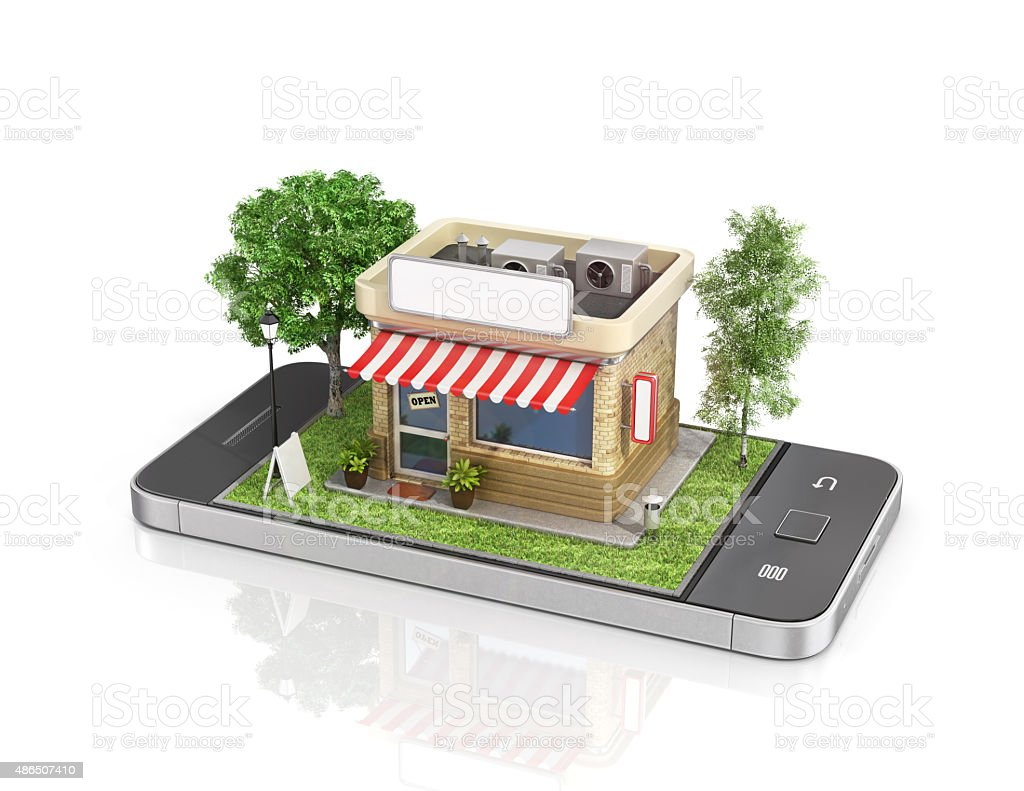 Concept of mobile store. stock photo