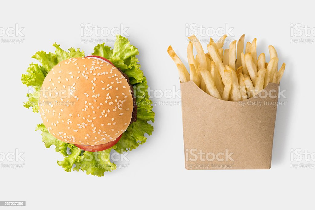 Concept of mock up burger and french fries. stock photo