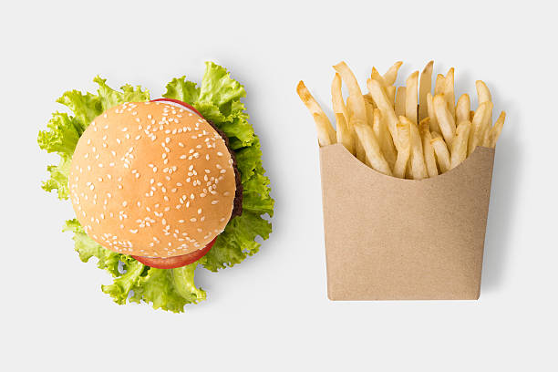 concept of mock up burger and french fries. - fast food restaurant stock pictures, royalty-free photos & images