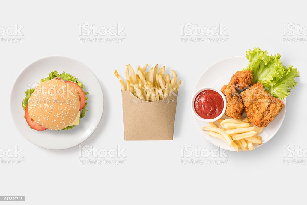 Concept of mock up burger, french fries and fried chicken. stock photo