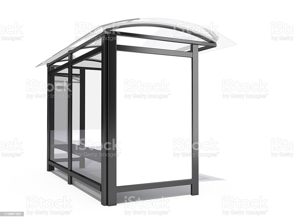 Concept of modern 3D bus stop billboard stock photo