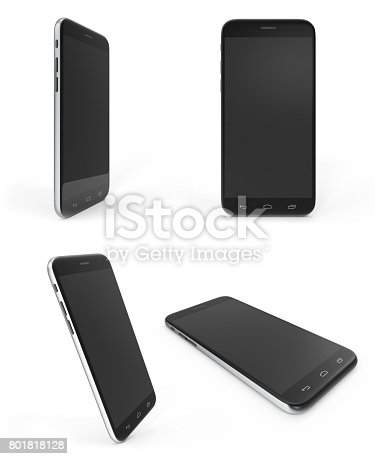 istock Concept of modern phones with empty screens, realistic black mobile templates on white background, 3D Rendering 801818128