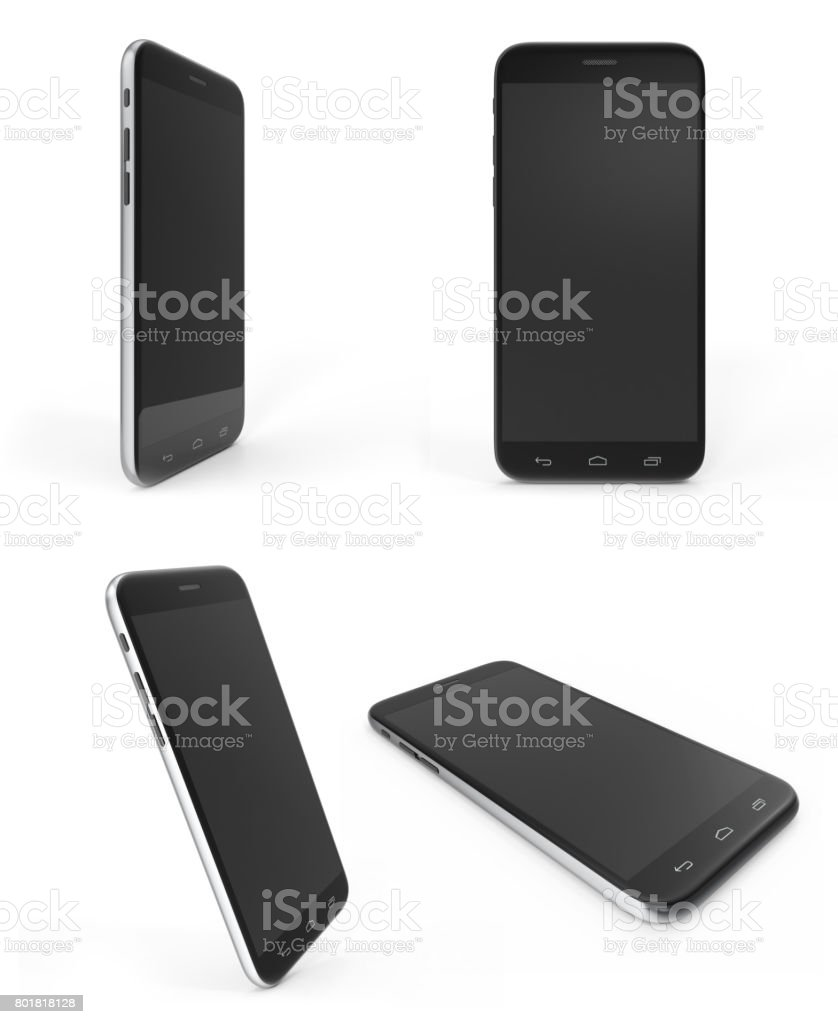 Concept of modern phones with empty screens, realistic black mobile templates on white background, 3D Rendering stock photo