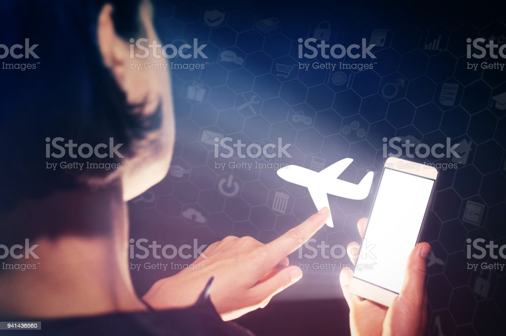 Concept of modern technology in air transportation. stock photo