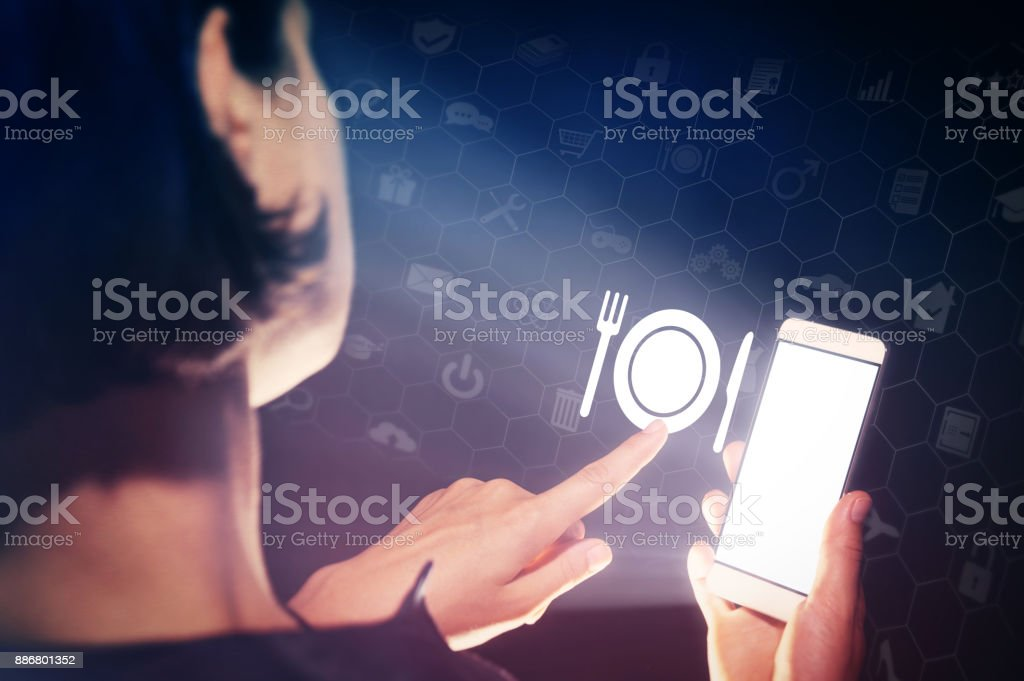 Concept of modern technology in catering industry. stock photo