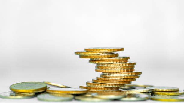 Concept of money saving and business finance, Money coin stack.