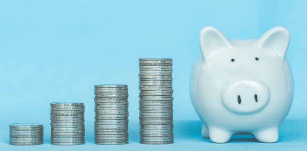 Concept of money saving and business finance, Money coin stack with piggy bank saving, with copy space.