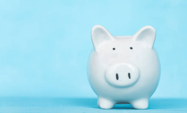 Concept of money saving and business finance, piggy bank saving, with copy space.
