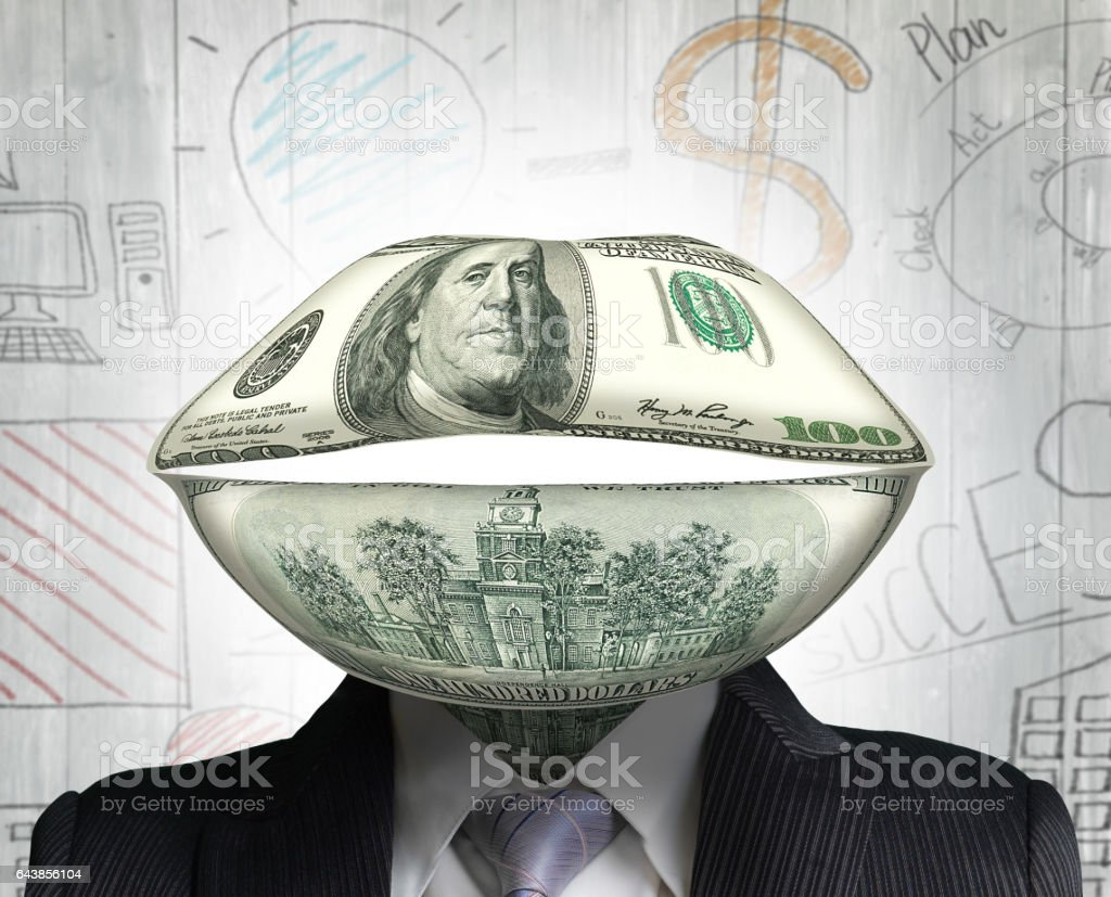 Concept of money talks stock photo