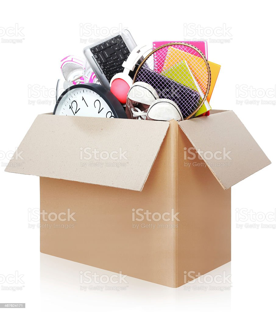 Concept of moving box full of different stuff royalty-free stock photo