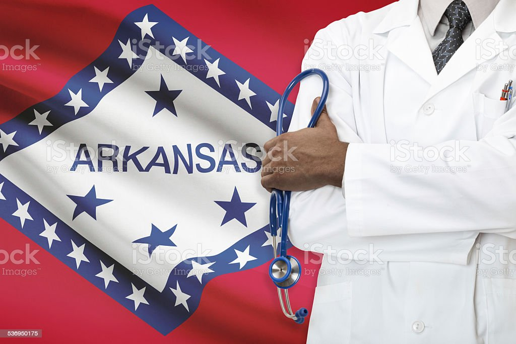 Concept of national healthcare system - Arkansas stock photo