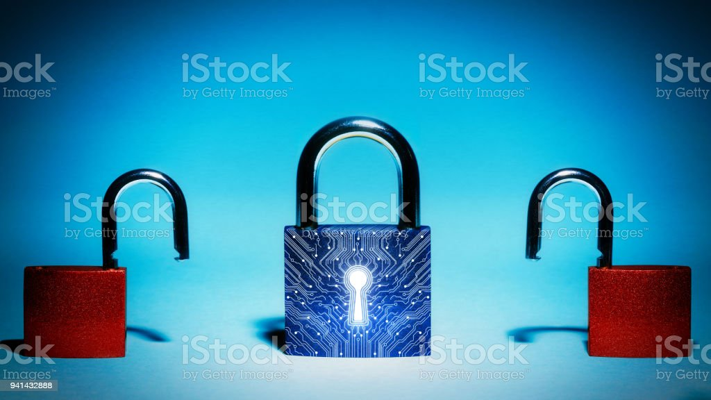 Concept of network security, virus protection, data protection. stock photo