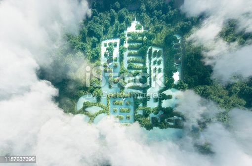Concept of new green urbanism. Lake in a shape of a city in the middle of pure and fresh rainforest scenery viewed form bird perspective.3d rendering