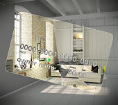 Concept of new opportunities A new interior instead of a camp on a credit card Money transactions Crediting 3d render