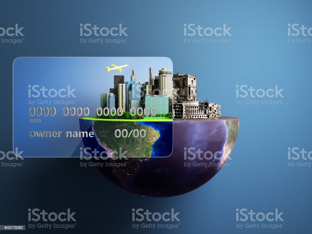 concept of new opportunities with credit cards a new city in the strength of a card a ruined city outside the credit card 3d render stock photo